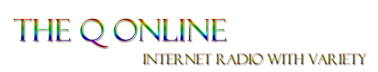 The Q Online Logo, Rainbow for The Q Online, Lifted Red for Internet Radio with Variety